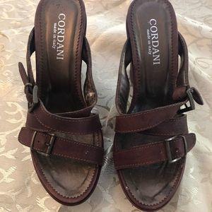 Italian Cordani brown leather wedge buckle up 7